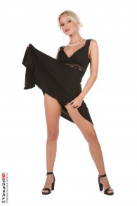 Hot blonde in black dress from Strippers  category
